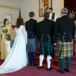 Traditional Scottish Wedding, kilts & sashes in each person's family tartan
