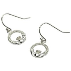 Pave Claddagh Earrings