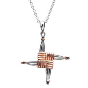 St. Brigid Cross Necklace with Rose Gold Plating