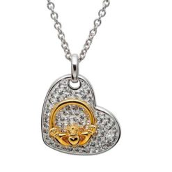 Crystal Heart Necklace with Gold Claddagh