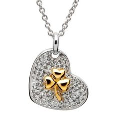 Crystal Heart Necklace with Gold Shamrock