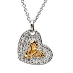 Crystal Heart Necklace with Gold Trinity Knot