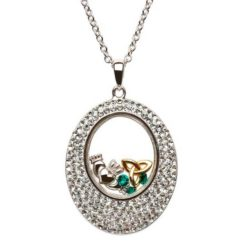 Silver Crystal Trinity and Claddagh Necklace