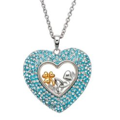 Aqua Crystal Heart Necklace