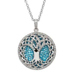 Aqua Crystal Tree of Life Necklace