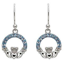 Sapphire Crystal Claddagh Earrings