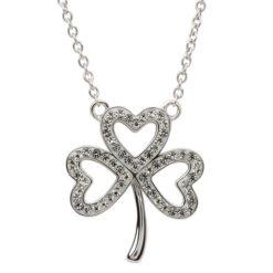 Open Shamrock Crystal Necklace
