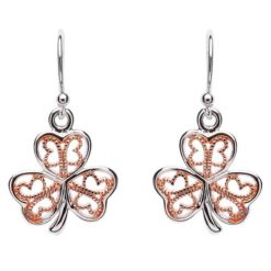 Shamrock Earrings with Rose Gold Plating