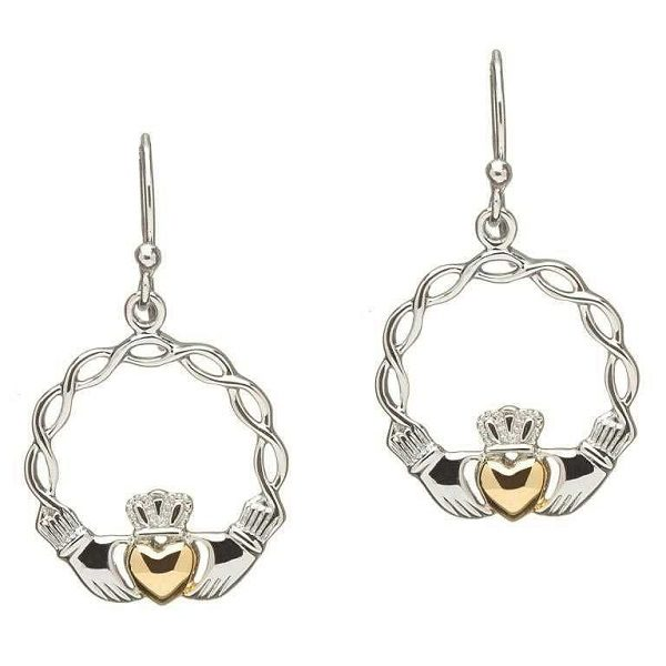 Celtic Wave Claddagh Earrings with Gold Plated Hearts and Sterling Silver Hangs