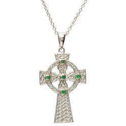 Emerald Trinity Knot Celtic Cross Necklace