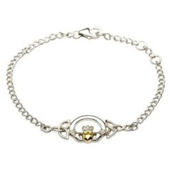 Gold Heart Claddagh Bracelet