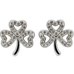Crystal Shamrock Stud Earrings