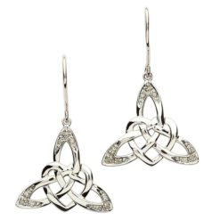 Celtic Stone Heart Trinity Earrings