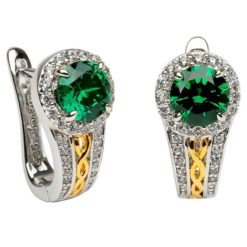 Green Round Halo Earrings