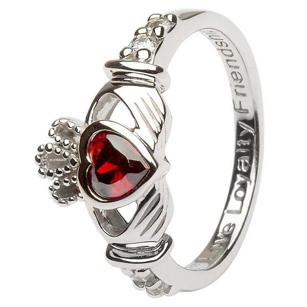 Claddagh Birthstone Ring January