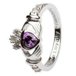 Claddagh Birthstone Ring February