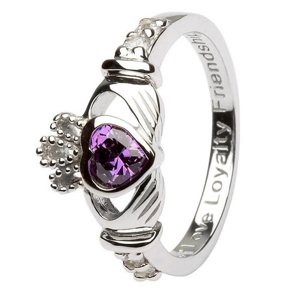 Claddagh Birthstone Ring February