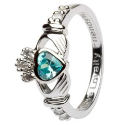 Claddagh Birthstone Ring March