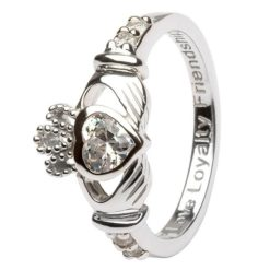 Claddagh Birthstone Ring April