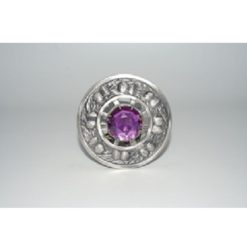 Antique Finish Thistle Plaid Brooch w/ Amethyst Stone