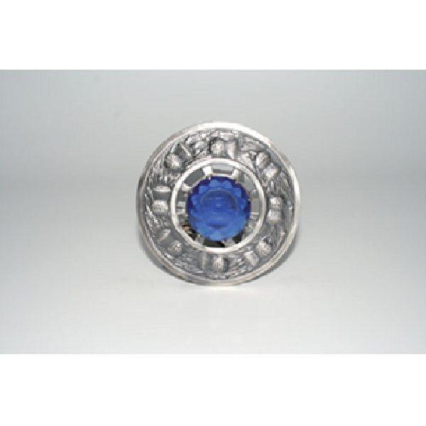 Antique Finish Thistle Plaid Brooch w/ Blue Stone
