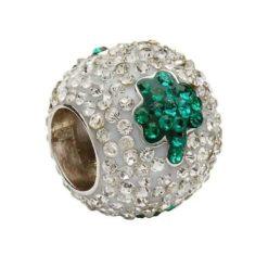 Crystal Bead with Green Shamrocks