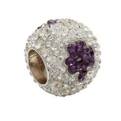 Crystal Bead with Purple Shamrocks