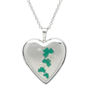 Shamrock Heart Shaped Locket