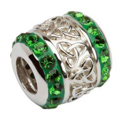 Green Crystal Trinity Knot Bead