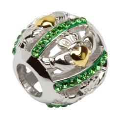 Green Crystal Claddagh Bead