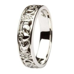 Diamond Set Claddagh with Celtic Knot Work Ladies Wedding Band