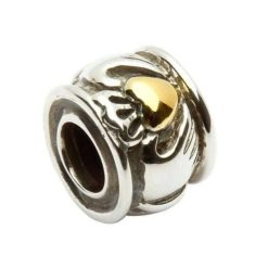 Claddagh Bead with Gold Plate Heart