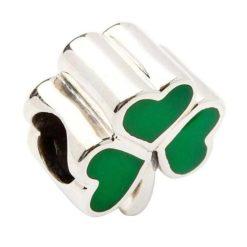 Green Enamel Shamrock Bead