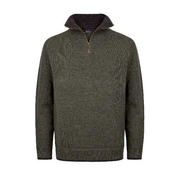 Mens Half Zip Pullover Green/Charcoal