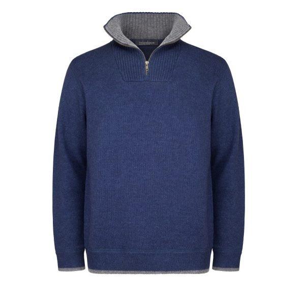 Men's Half Zip Pullover Navy/Light Blue