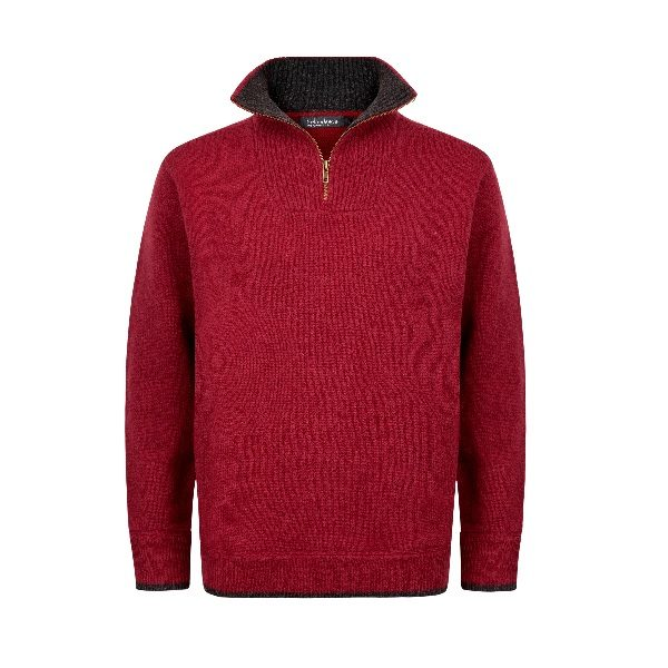 Men's Half Zip Pullover Red/Charcoal