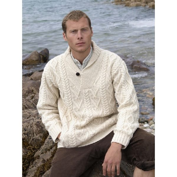 Shawl Collar Sweater with Button