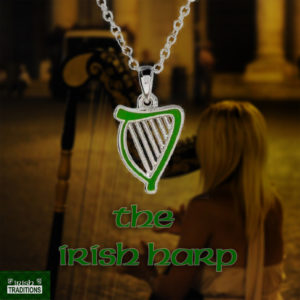 The Irish Harp Necklace Green Enamel