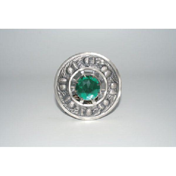 Antique Finish Thistle Plaid Brooch w/ Emerald Stone