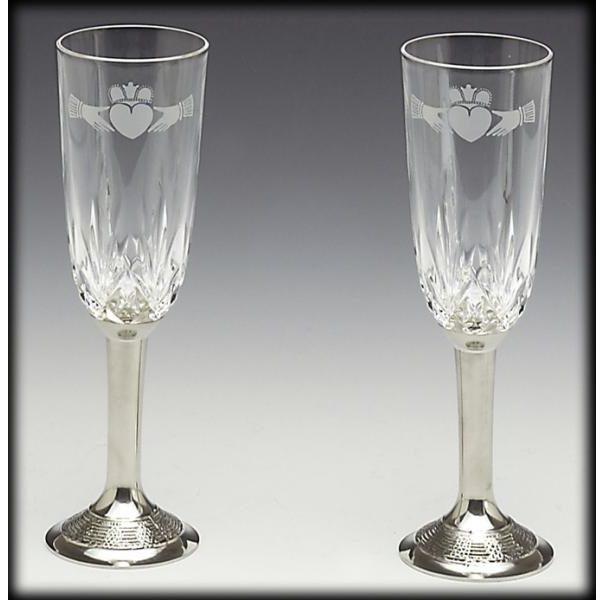 Claddagh Crystal Wedding Flutes