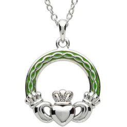 Celtic Enamel Claddagh Necklace