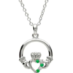 Gem Set Claddagh Necklace
