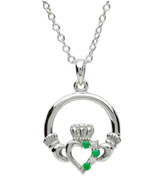 Gem Set Claddagh Necklace