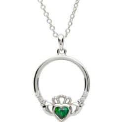Green Gem Claddagh Necklace