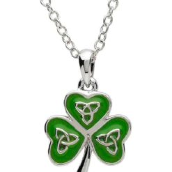 Enamel Trinity Shamrock Necklace