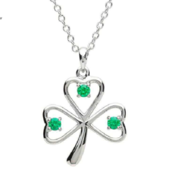 Green Gem Shamrock Necklace