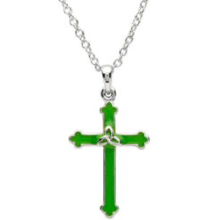Green Enamel Cross Necklace
