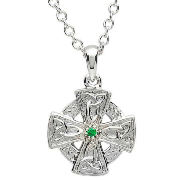 Green Gem Celtic Cross Necklace