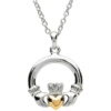 Two Tone Large Claddagh Necklace