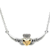 Two Tone Claddagh Plate Necklace